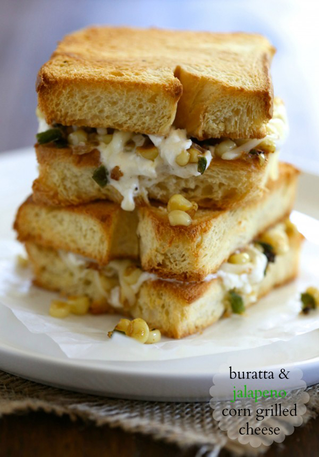 Burrata & Jalapeno Corn Grilled Cheese