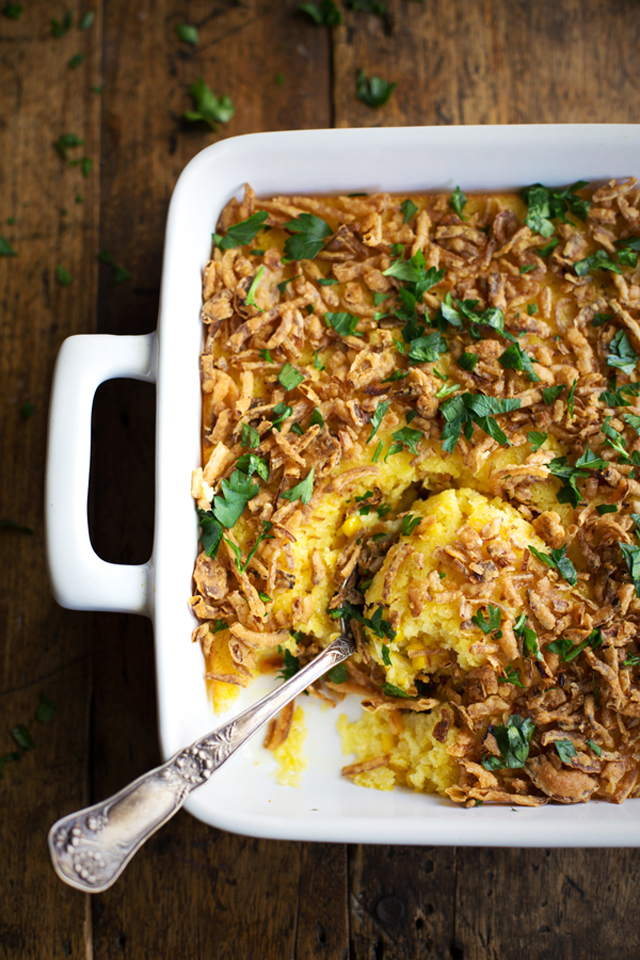 Creamy Corn Pudding with Crispy Onions & Herbs