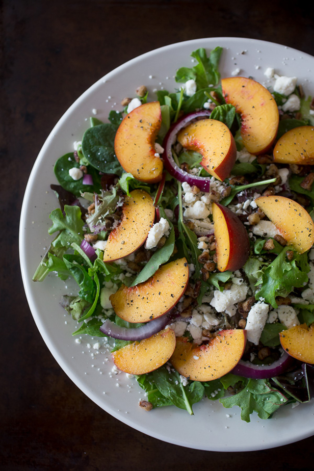 Peach Feta Salad with Peach Vinaigrette