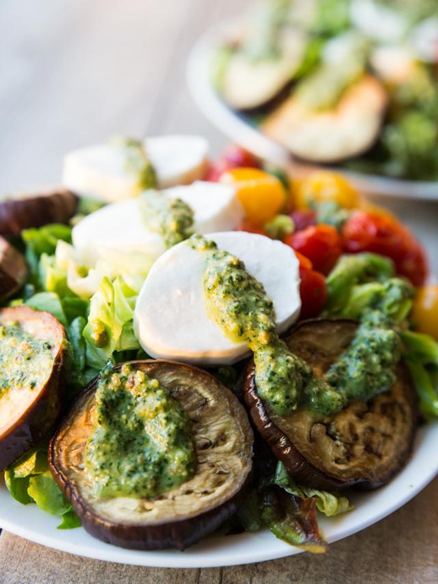 Roasted Eggplant and Burst Tomato Mozzarella Pesto Salad with Easy Dijon Vinaigrette