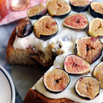 almond honey cake with roasted figs and mascarpone frosting