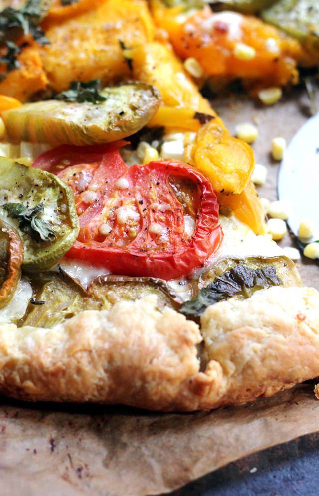 caramelized heirloom tomato and corn galette