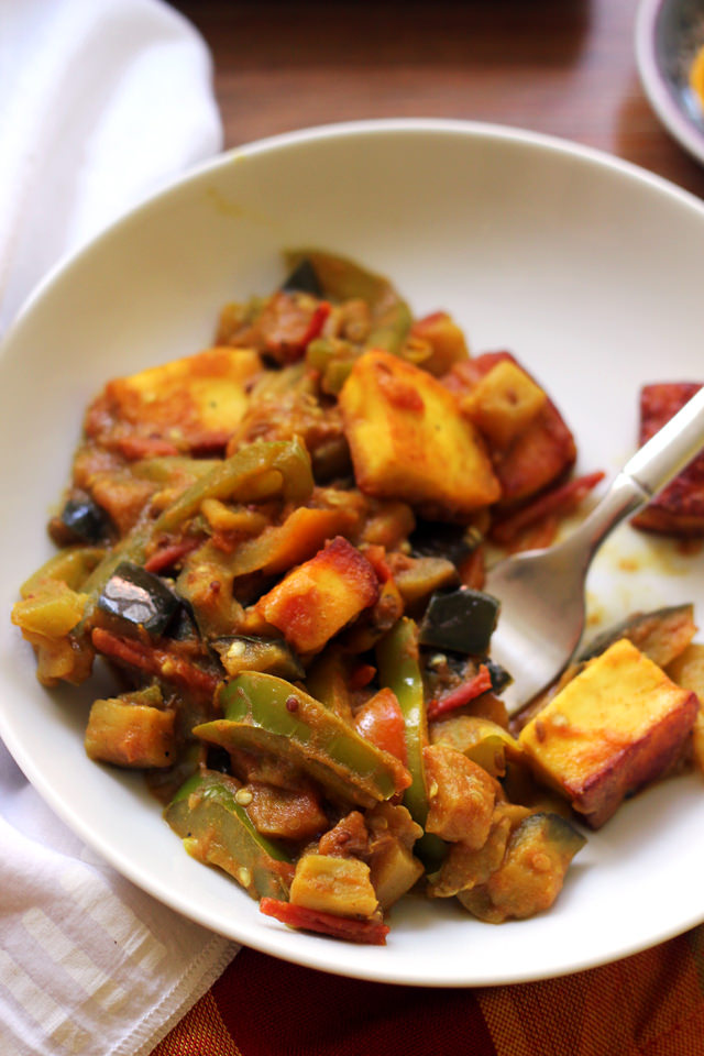 eggplant, bell pepper, and paneer curry