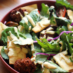 Falafel Kale Salad with Hummus Dressing