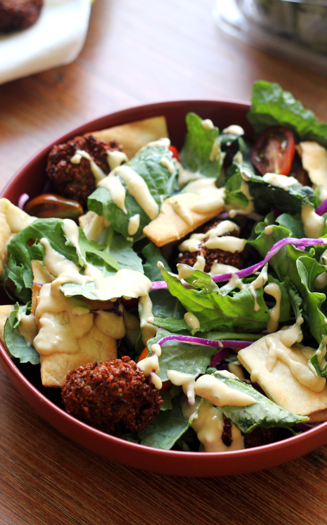 falafel kale salad with hummus dressing