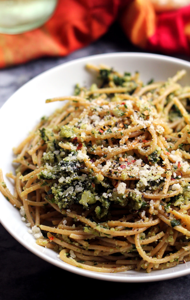 spaghetti with cauliflower and garlicky swiss chard gremolata