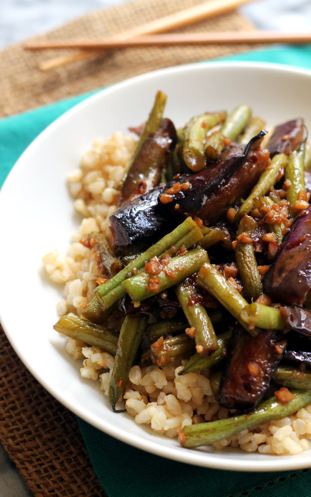 Szechuan Spicy Garlic Eggplant and String Bean Stir Fry