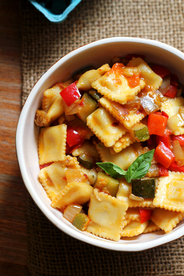 spicy rataouille with ravioli