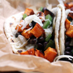 ancho honey roasted sweet potato and black bean tacos