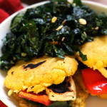 Queso and Pepper Arepas with Kale Salad and Chimichurri