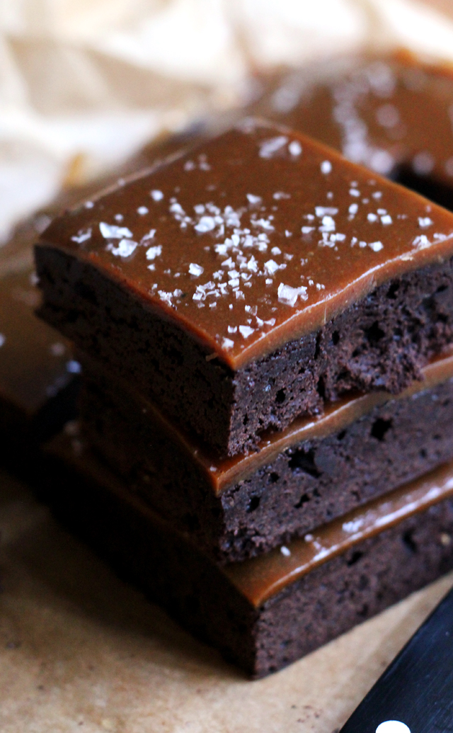 salt and pepper caramel brownies
