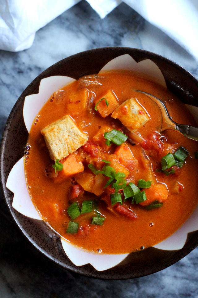 crispy roasted tofu and curried peanut soup