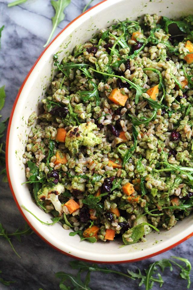Warm Farro Bowl with Roasted Vegetables and a Kale Pesto Vinaigrette