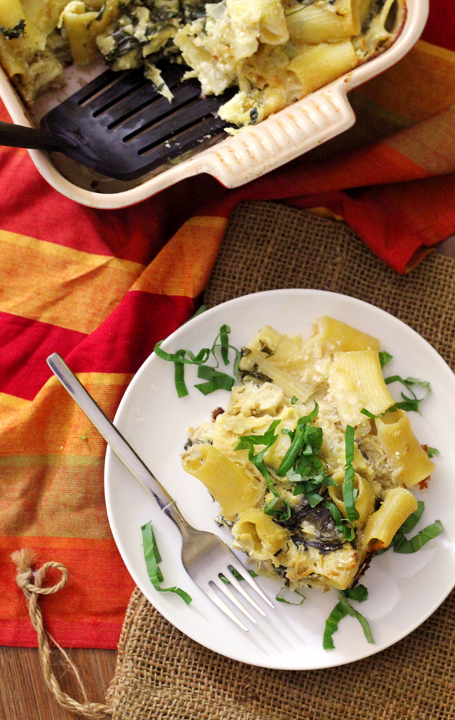 Lemony Spinach and Artichoke Baked Ziti