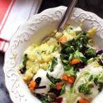 Creamy Baked Polenta with Herbs, Scallions, and Roasted Yam Salad