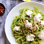Linguine with Lemony Pea Pesto, Artichokes, and Ricotta