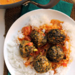 Lentil Quinoa Meatballs with Coconut-Fenugreek Sauce
