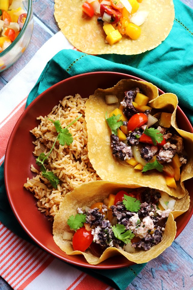 Crispy Black Bean Tacos with Mango Pico de Gallo