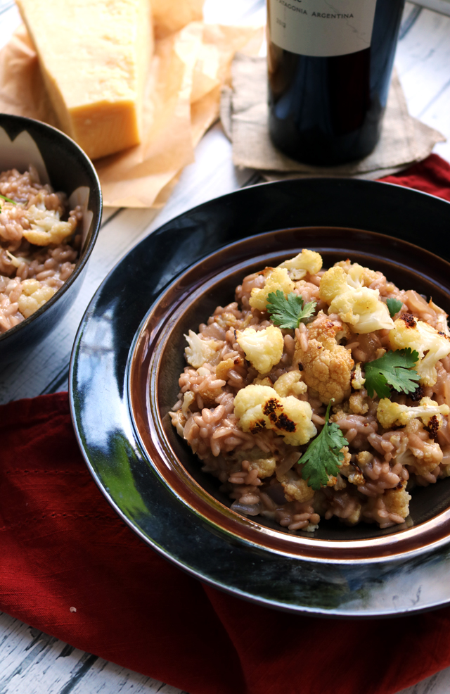 Drunken Red Wine Risotto with Roasted Cauliflower and Goat Cheese