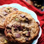 Thick and Chewy Smoked Sea Salt, Pistachio, and Chocolate Chunk Cookies