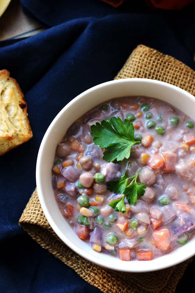 Purple Sweet Potato and Chickpea Pot Pie Soup with Rosemary Biscuits ...
