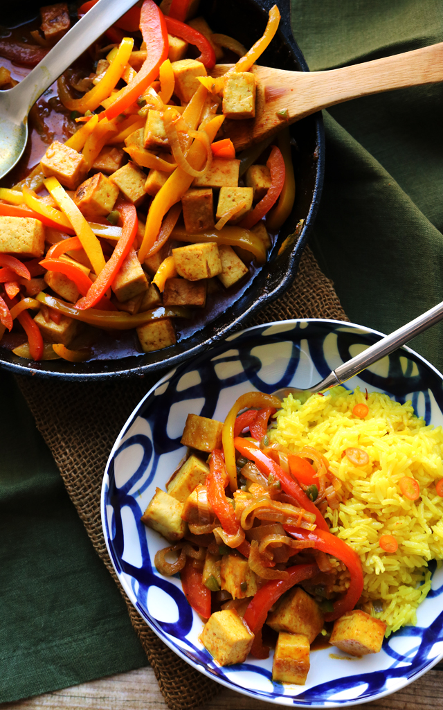 Spicy Vegan Thai Coconut Red Curry with Coconut-Saffron Rice
