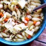 White Bean Soup with Pasta and Rosemary Oil Drizzle