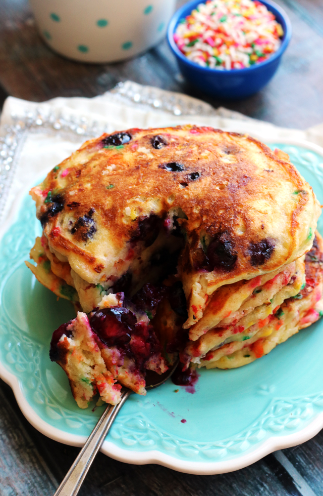 Fluffy Funfetti Blueberry Buttermilk Pancakes