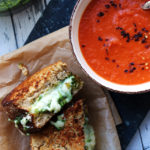 Homemade Basil Pesto and Cheddar Grilled Cheese with Creamy Tomato Soup