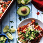 Spinach and Pinto Bean Enchiladas with Cotija Cheese