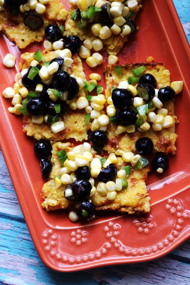 Polenta Bites with Spicy Blueberry Jalapeno Corn Relish