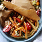 Roasted Zucchini and Bell Pepper Vegetarian Gyros with Hummus and Cucumber-Feta Salsa