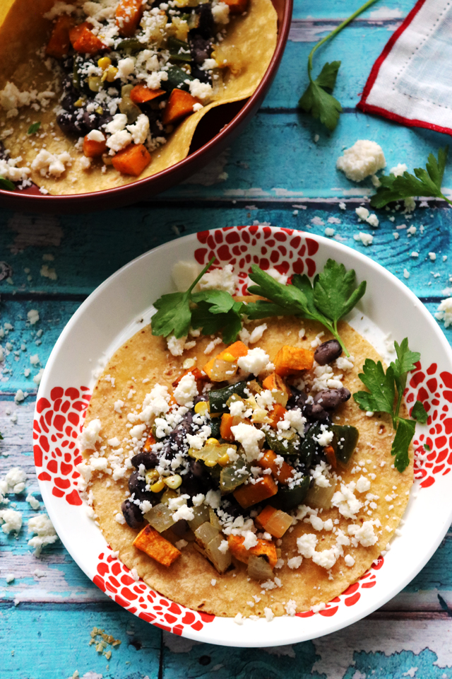 Soft Corn Tacos with Roasted Sweet Potatoes, Poblano Peppers, and Corn