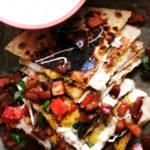Cheesy Zucchini Quesadillas with Heirloom Tomato Salsa and Corn Crema