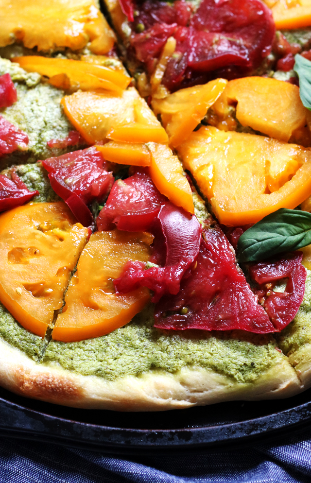 Heirloom Tomato Pizza with Whipped Pesto Ricotta