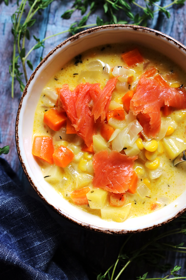 Creamy Smoked Salmon, Goat Cheese, Corn, and Potato Chowder