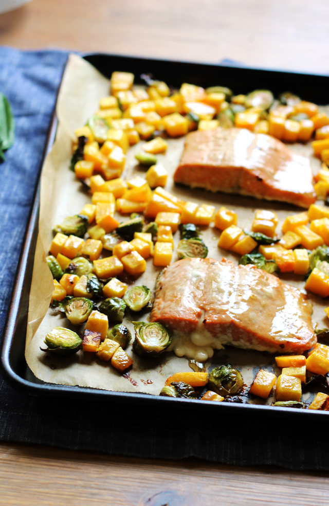 Sheet Pan Brown Sugar Salmon with Roasted Butternut Squash and Brussels Sprouts