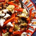 Mustardy Farro Salad with Roasted Root Vegetables and Goat Cheese