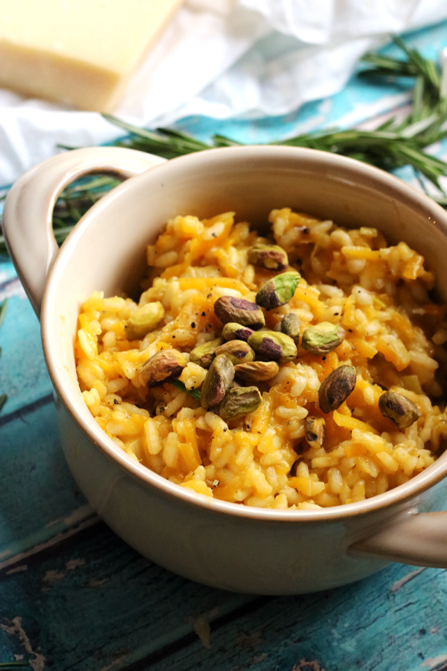 Butternut Squash and Rosemary Risotto with Pistachios and Lemon