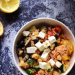 Loaded Lemony Greek Salad with Bulgur, Chickpeas, and Feta Cheese