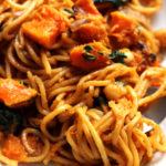 Takeout-Style Sesame Noodles with Butternut Squash and Spinach