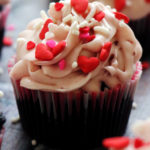Black Velvet Cupcakes with Raspberry Jam Cream Cheese Frosting