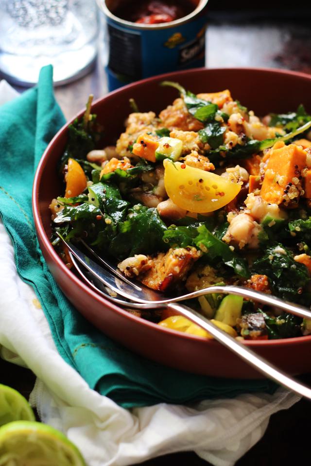 Honey Chipotle Roasted Tofu and Sweet Potato Bowls with Quinoa and Honey Lime Vinaigrette