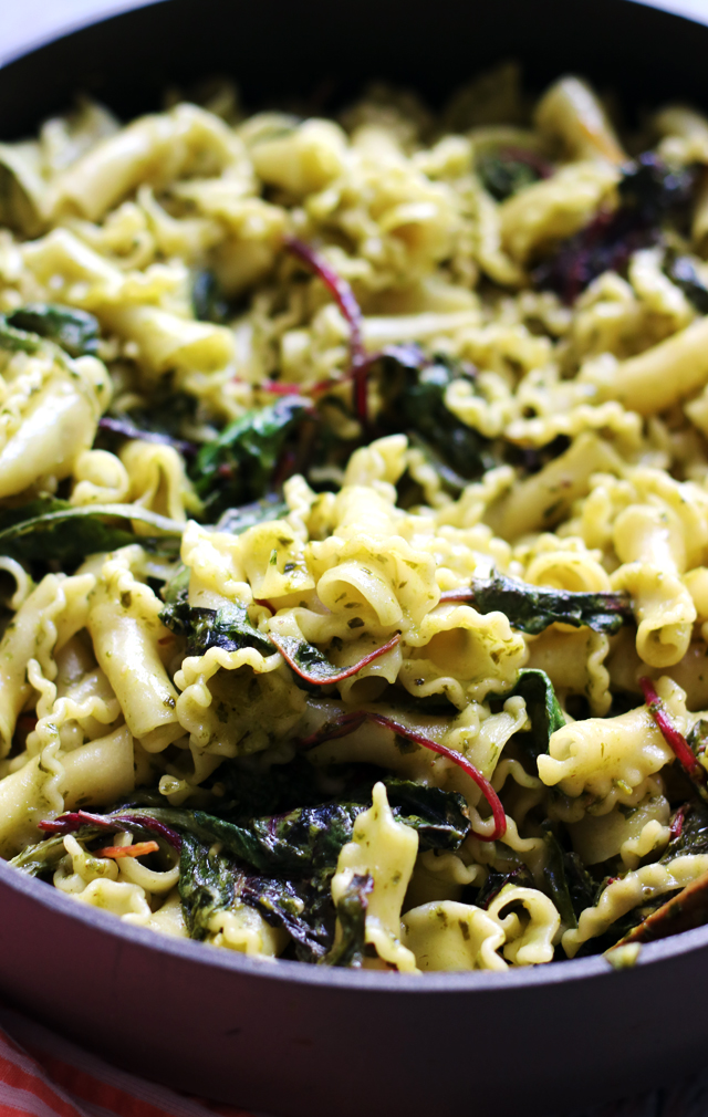 Pesto and Goat Cheese Gigli Pasta with Swiss Chard