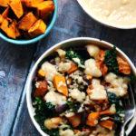 Vegetarian Macro Bowls with Miso-Glazed Kabocha Squash, Kimchi, Brown Rice, and Tahini Sauce