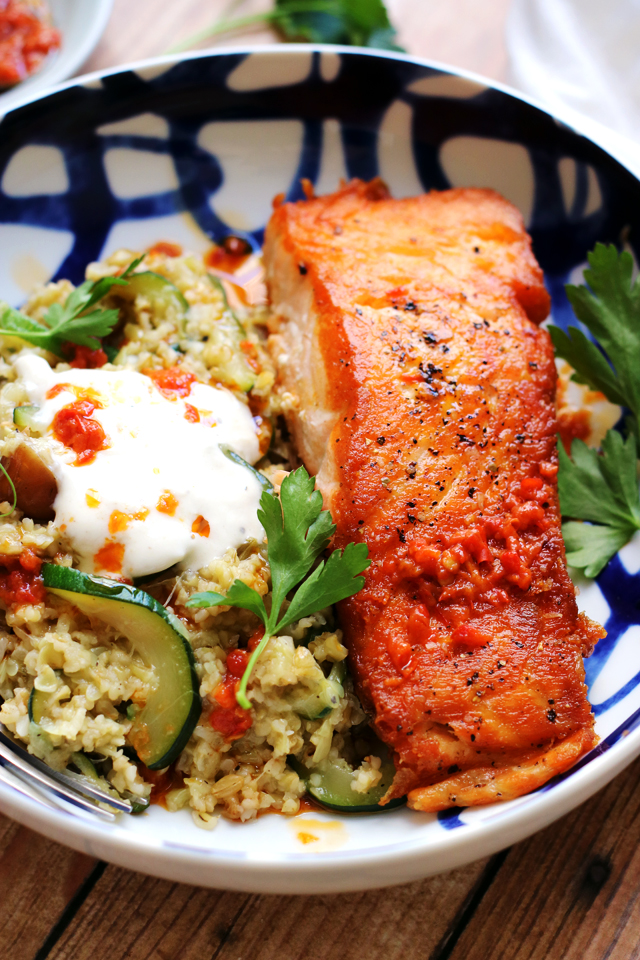 Crispy Salmon with Tahini Yogurt Sauce, Freekeh, Zucchini and Dates