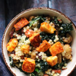 Roasted Cauliflower and Israeli Couscous Salad with Harissa-Marinated Halloumi