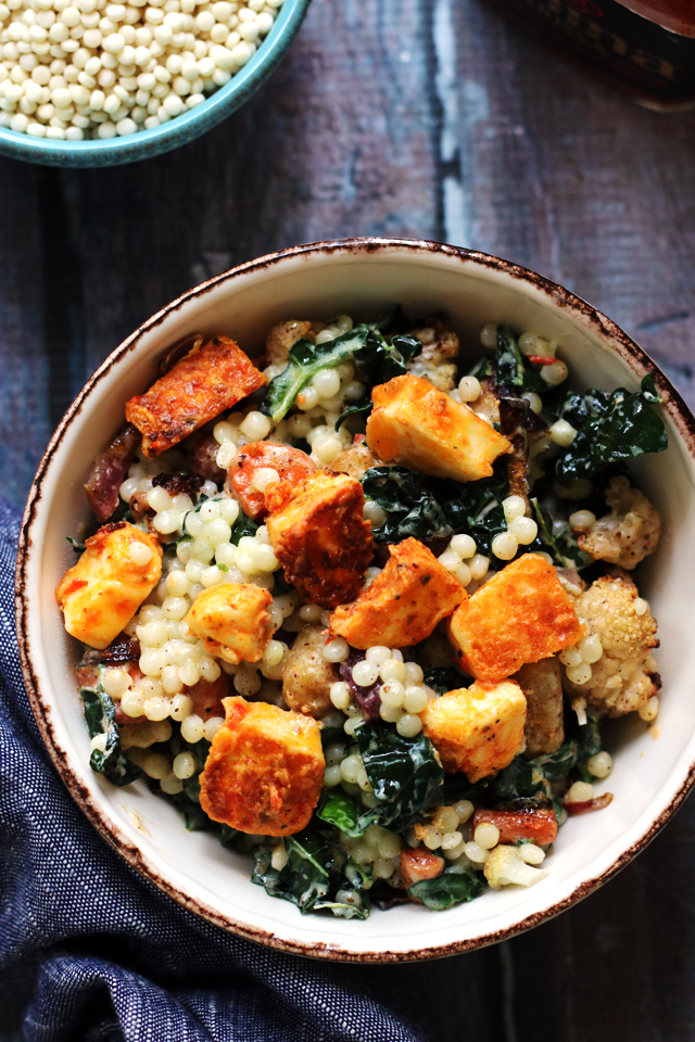 Roasted Cauliflower And Israeli Couscous Salad With Harissa Marinated Halloumi Joanne Eats Well With Others