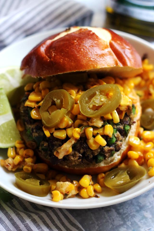 Poblano Black Bean Veggie Burgers with Elote Salsa