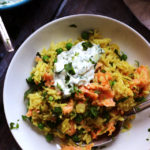 Smoked Salmon and Curried Rice Bowls with Cucumber Raita